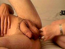 Strap-on fetish and cumming while deepthroat
